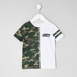 Mini - Wit T-shirt met camouflageprint en mesh voor jongens