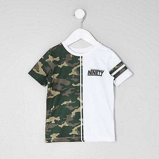 Mini boys white split camo mesh T-shirt