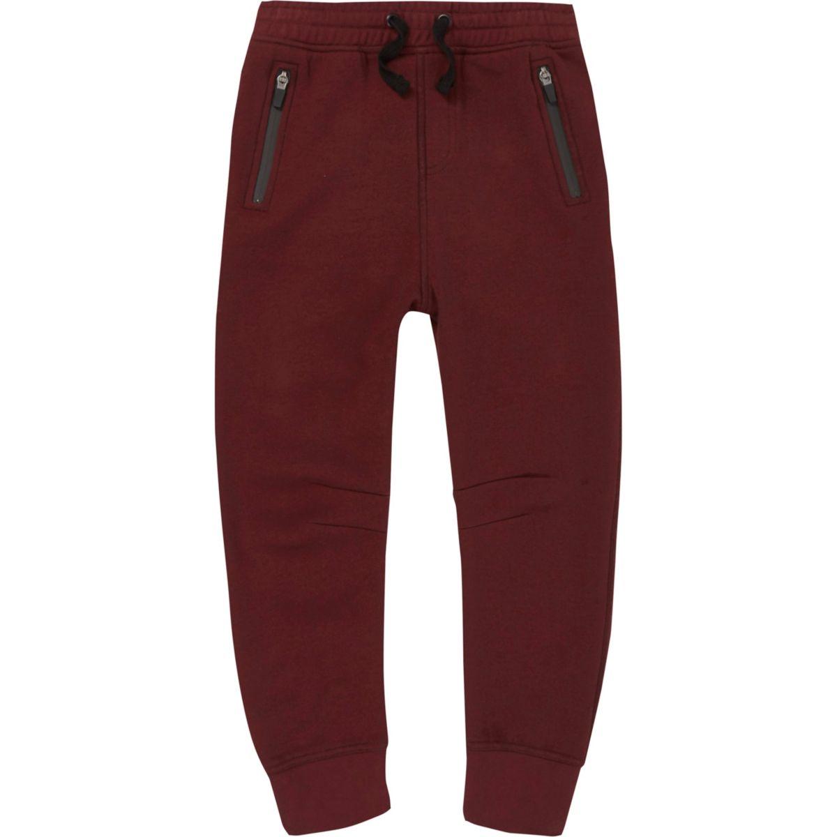 Pantalon de jogging en néoprène rouge foncé pour garçon