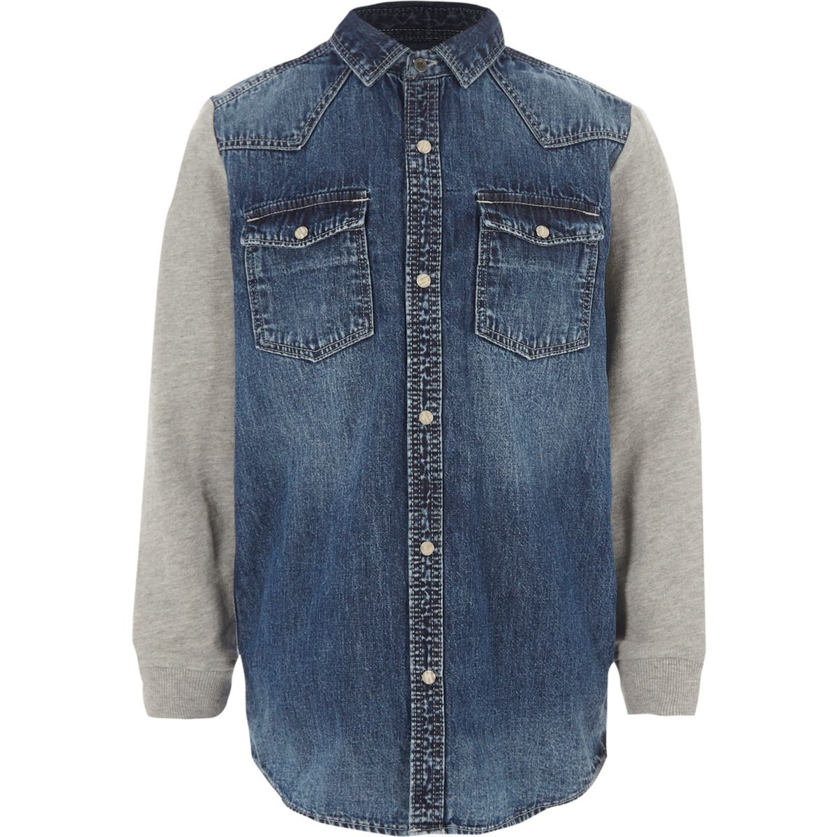 Boys blue denim jersey sleeve shirt