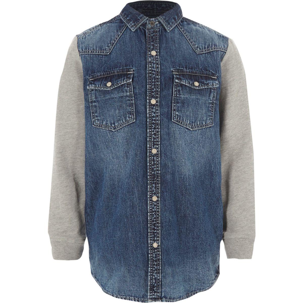 Chemise en jean bleue à manches en jersey pour garçon