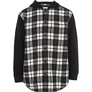 Boys black check hooded hybrid shirt