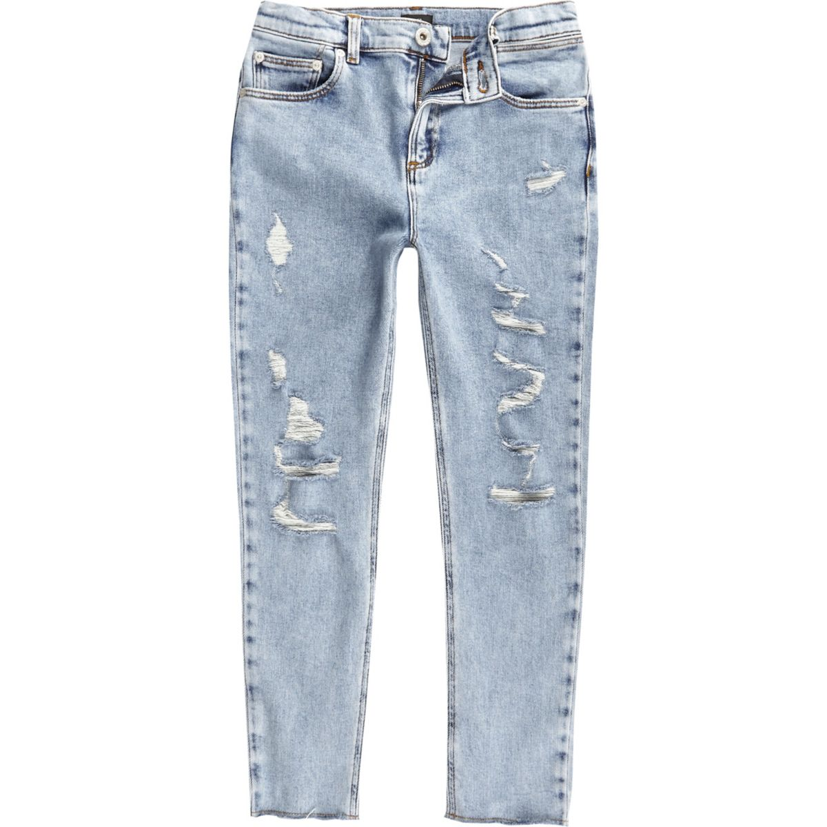Boys light blue Sid ripped skinny jeans - Denim - Sale - boys