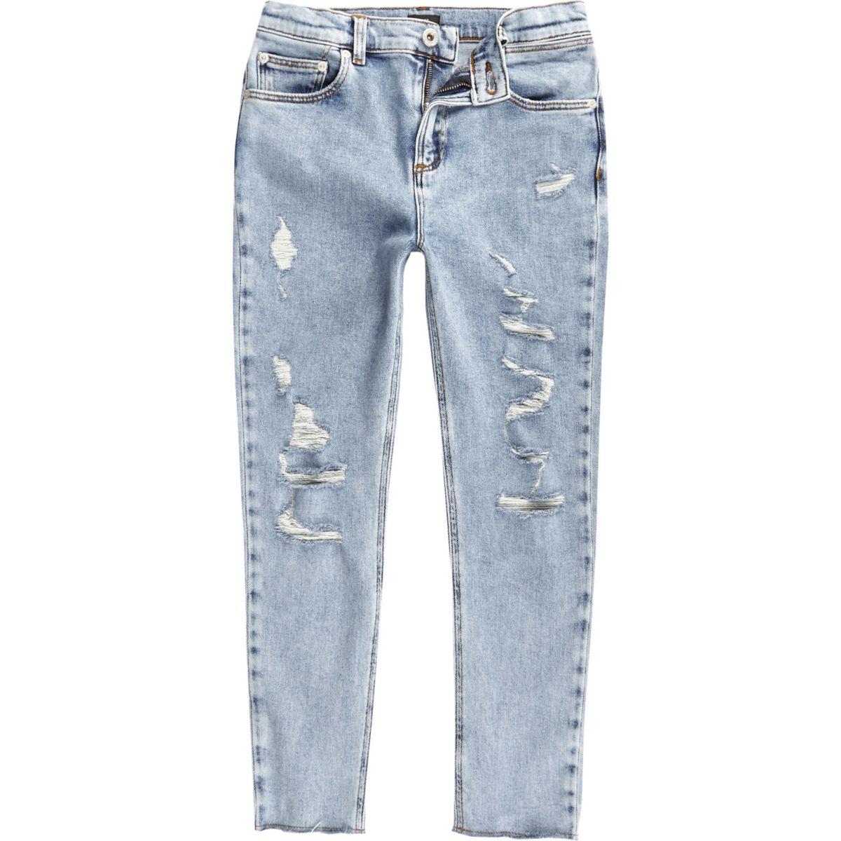 Boys light blue Sid ripped skinny jeans