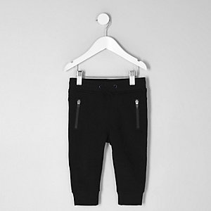 Mini boys black zip pocket joggers