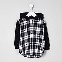 Mini - Zwart geruit hybride hoodie-overhemd voor jongens