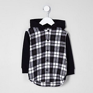 Mini boys black check hybrid hoodie shirt
