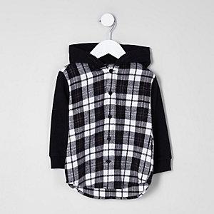 Chemise hybride motif carreaux noire à capuche mini garçon