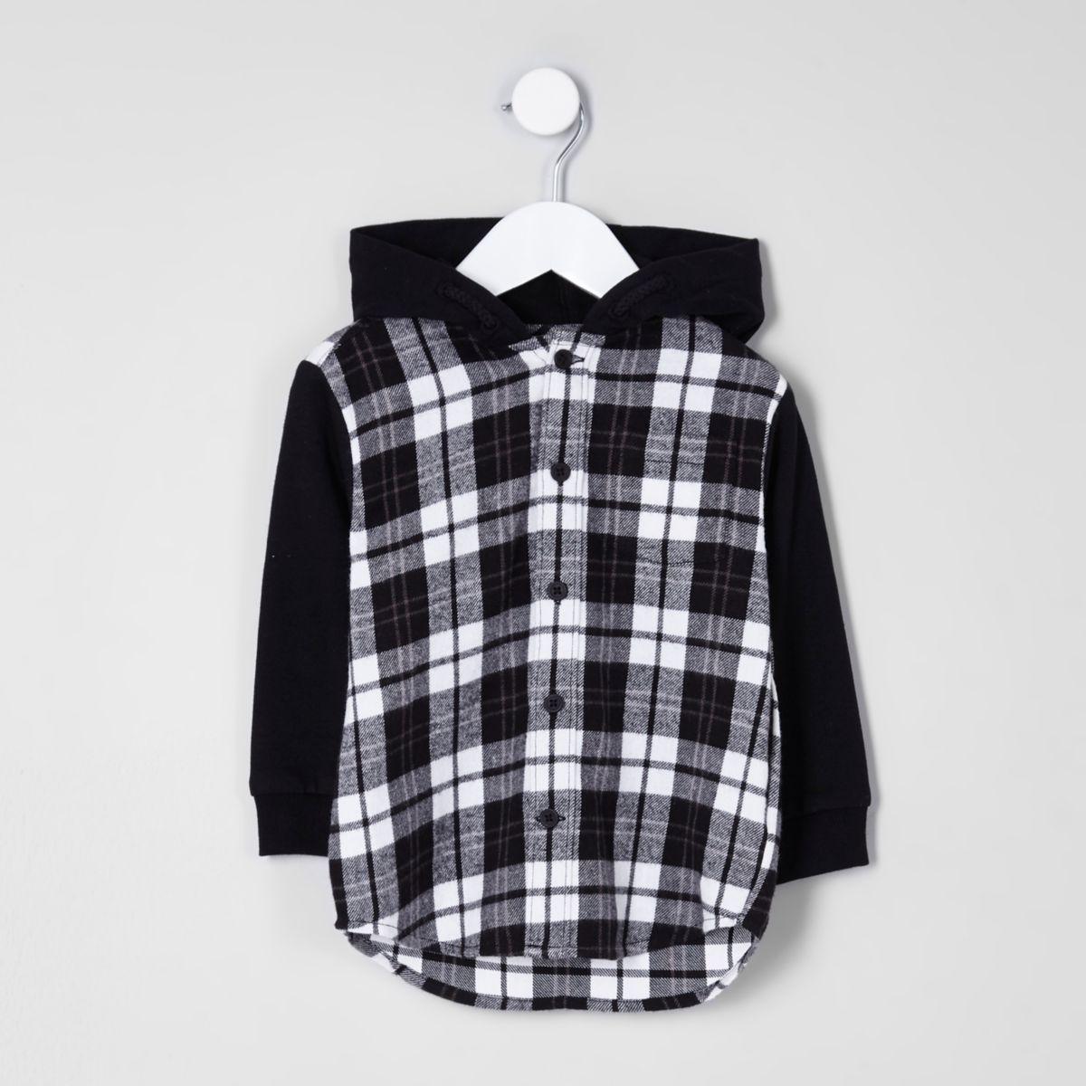 Mini boys black check hybrid hoodie shirt