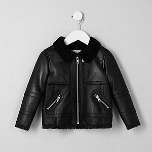 Mini boys black faux shearling aviator jacket