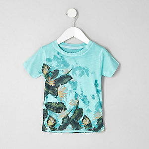 Mini boys blue palm leaf print T-shirt