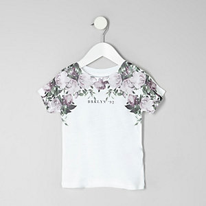 Mini boys white floral 'Brooklyn' T-shirt