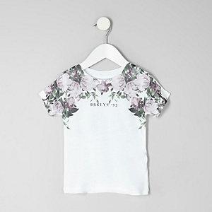 Mini - Wit gebloemd T-shirt met 'Brooklyn'-print voor jongens