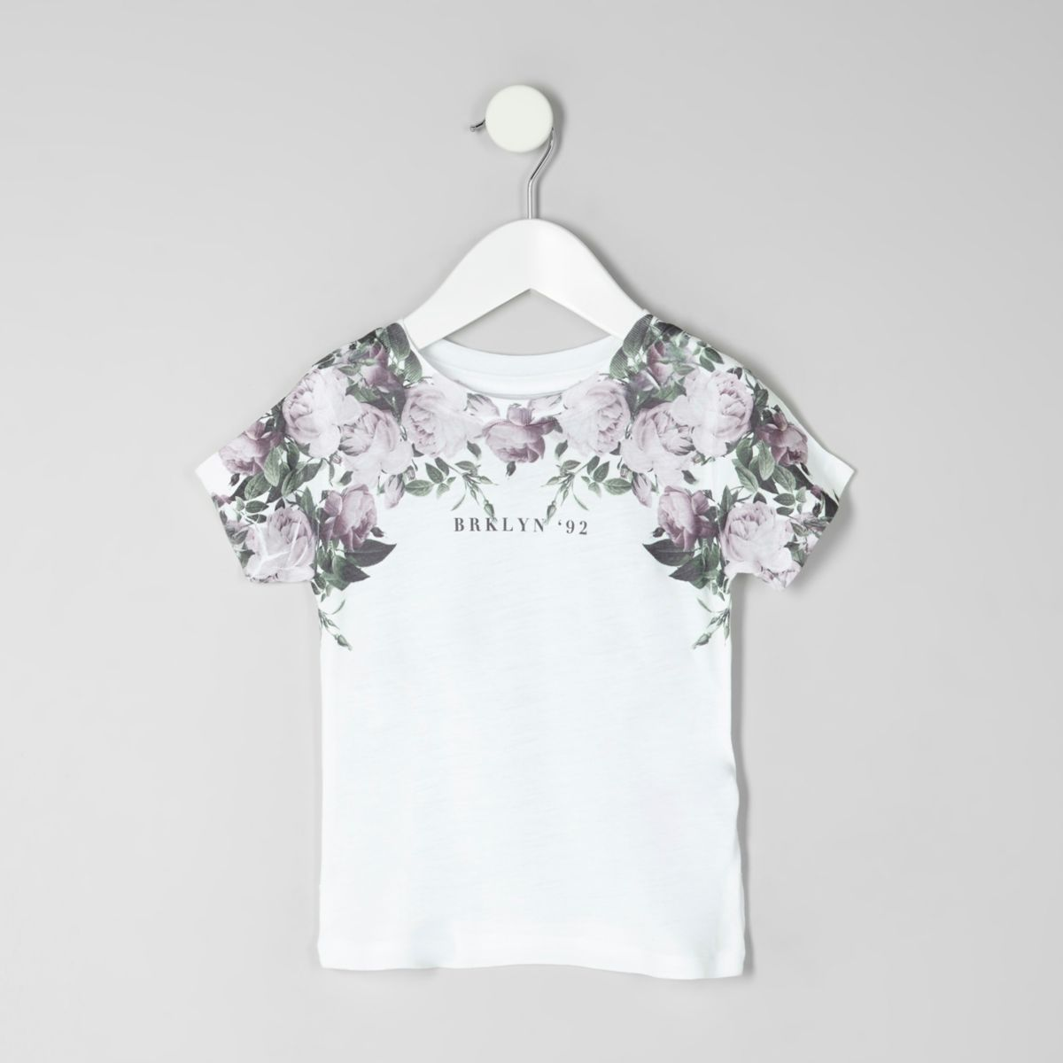 Mini boys white floral 'Brooklyn' T-shirt
