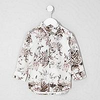 Mini boys white floral print shirt