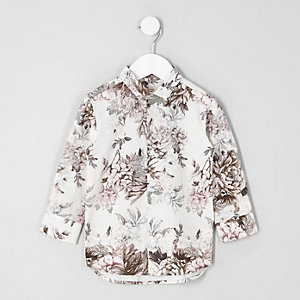 Mini boys white floral print shirt