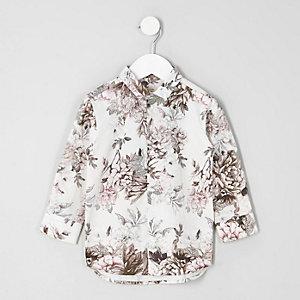 Wit overhemd met bloemenprint voor mini boys