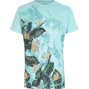 Boys blue palm leaf print T-shirt
