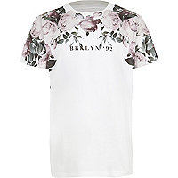 Boys white floral 'Brooklyn' print T-shirt