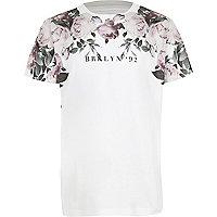 Boys white floral 'Brooklyn' print T-shirt