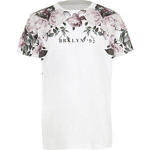 Wit gebloemd T-shirt met 'Brooklyn'-print voor jongens