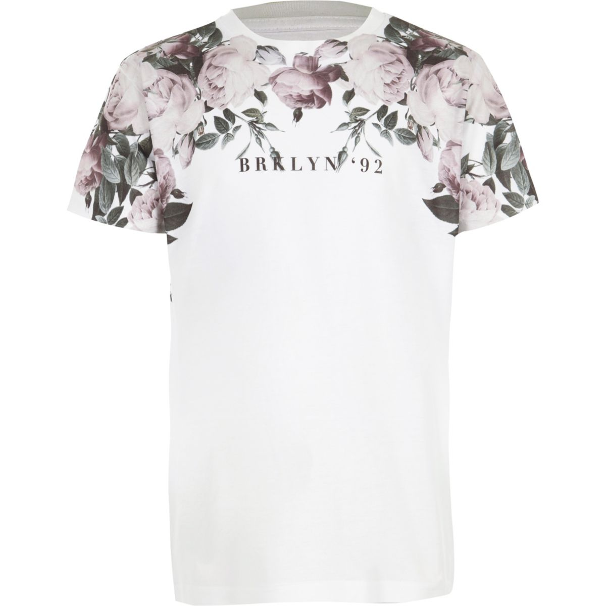 Boys white floral 39 brooklyn 39 print t shirt t shirts t for T shirt printing brooklyn