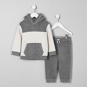 Mini boys grey blocked fleece hoodie outfit