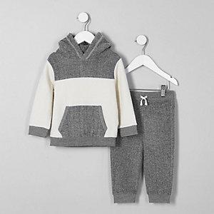 Mini - Outfit met grijze fleece hoodie met kleurvlakken voor jongens