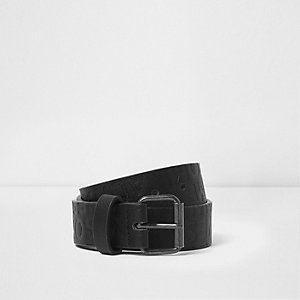 Black 'i'm awesome' embossed belt