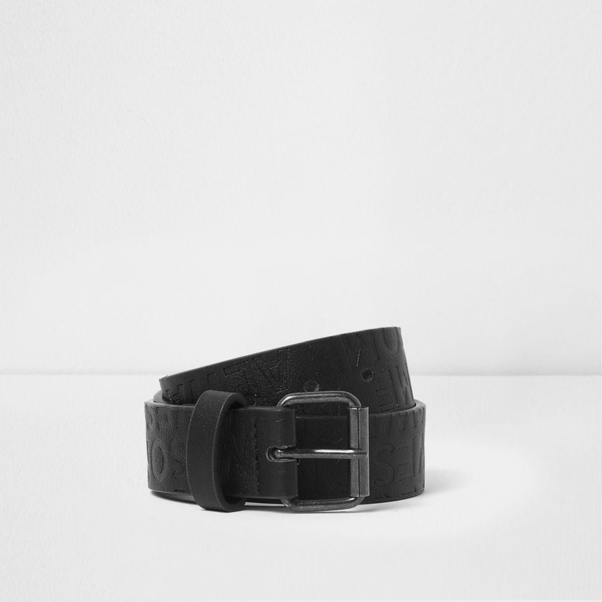 Boys black 'always awesome' embossed belt