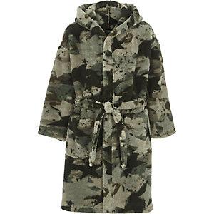 Robe de chambre duveteuse motif camouflage verte pour garçon