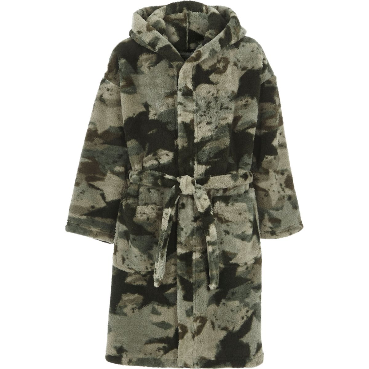 Boys green camo fluffy dressing gown