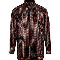 Boys black tile print long sleeve shirt