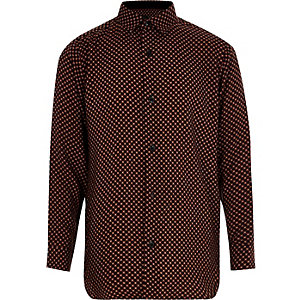 Boys black tile print long sleeve shirt