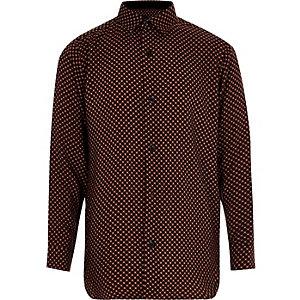 Zwart overhemd met lange mouwen en tegelprint voor jongens