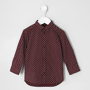 Mini boys burgundy polka dot shirt
