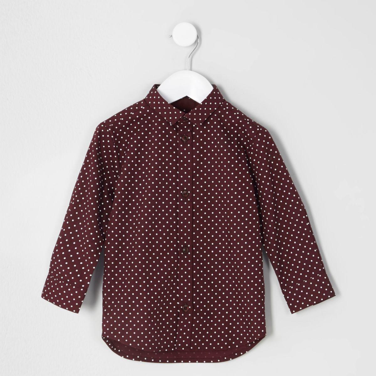 Mini boys burgundy polka dot shirt