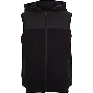 Boys black hooded gilet