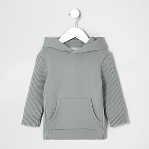 Mini boys grey knit ribbed sleeve hoodie
