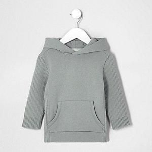 Mini - Grijze hoodie met gebreide mouwen met ribbels voor jongens