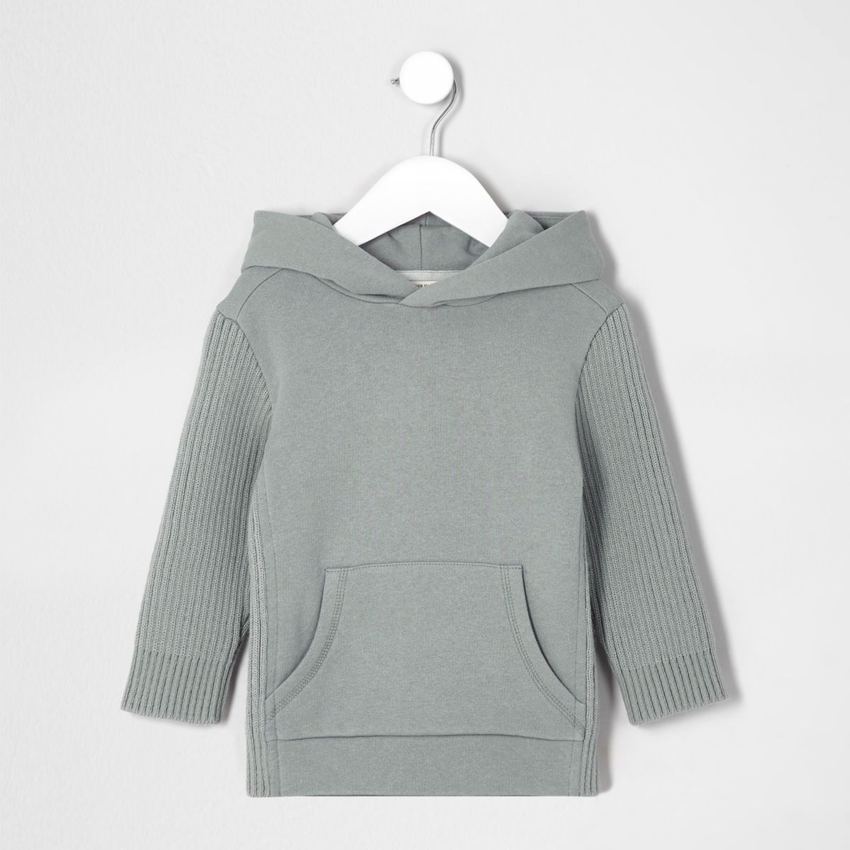 Mini boys grey knit ribbed sleeve hoodie