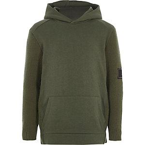 Kaki hoodie met gebreide mouwen voor jongens