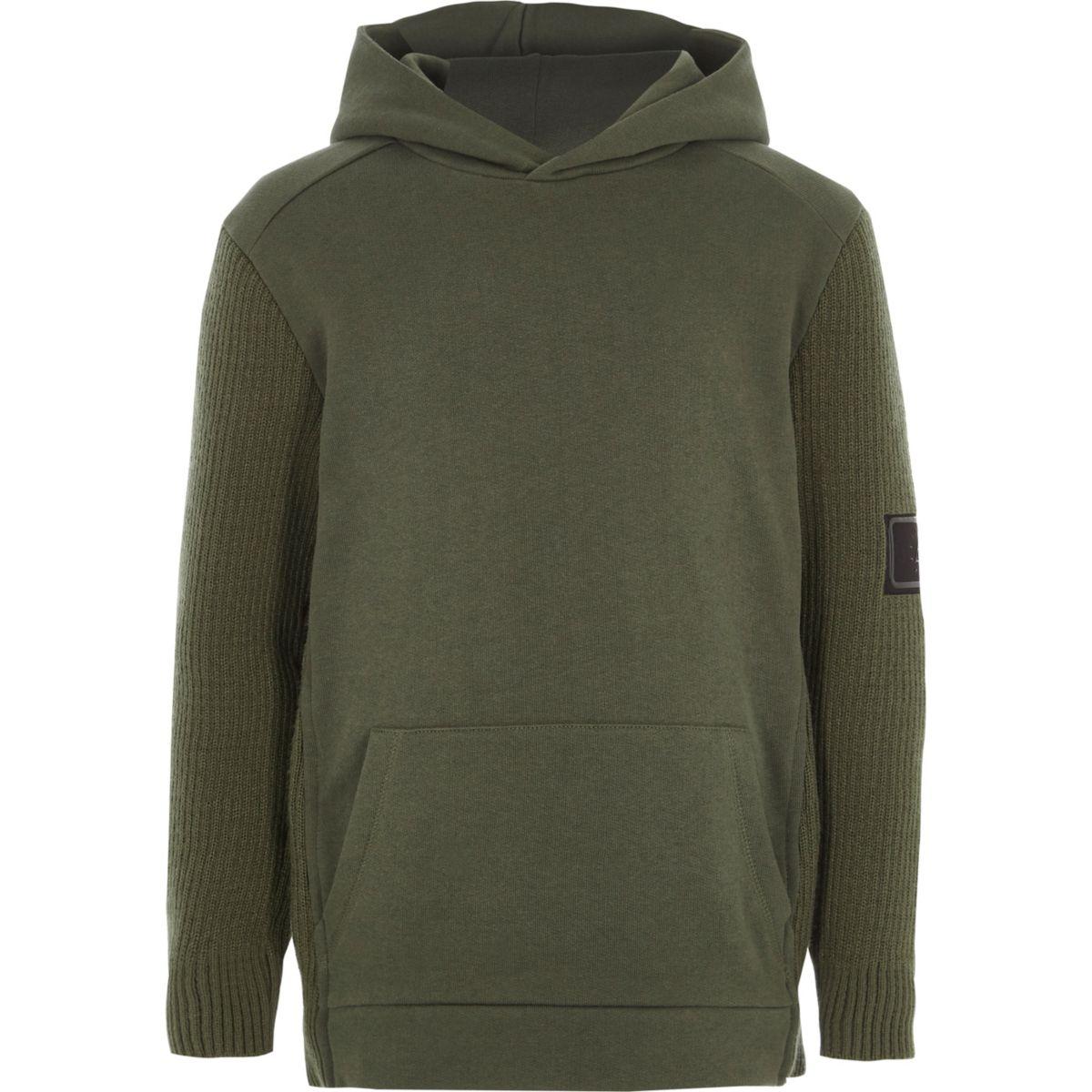 Boys khaki knit sleeve hoodie