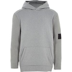 Boys grey knit sleeve hoodie