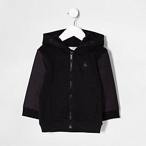 Mini boys black bomber sleeve hoodie