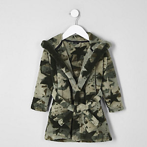 Mini boys khaki camo dressing gown