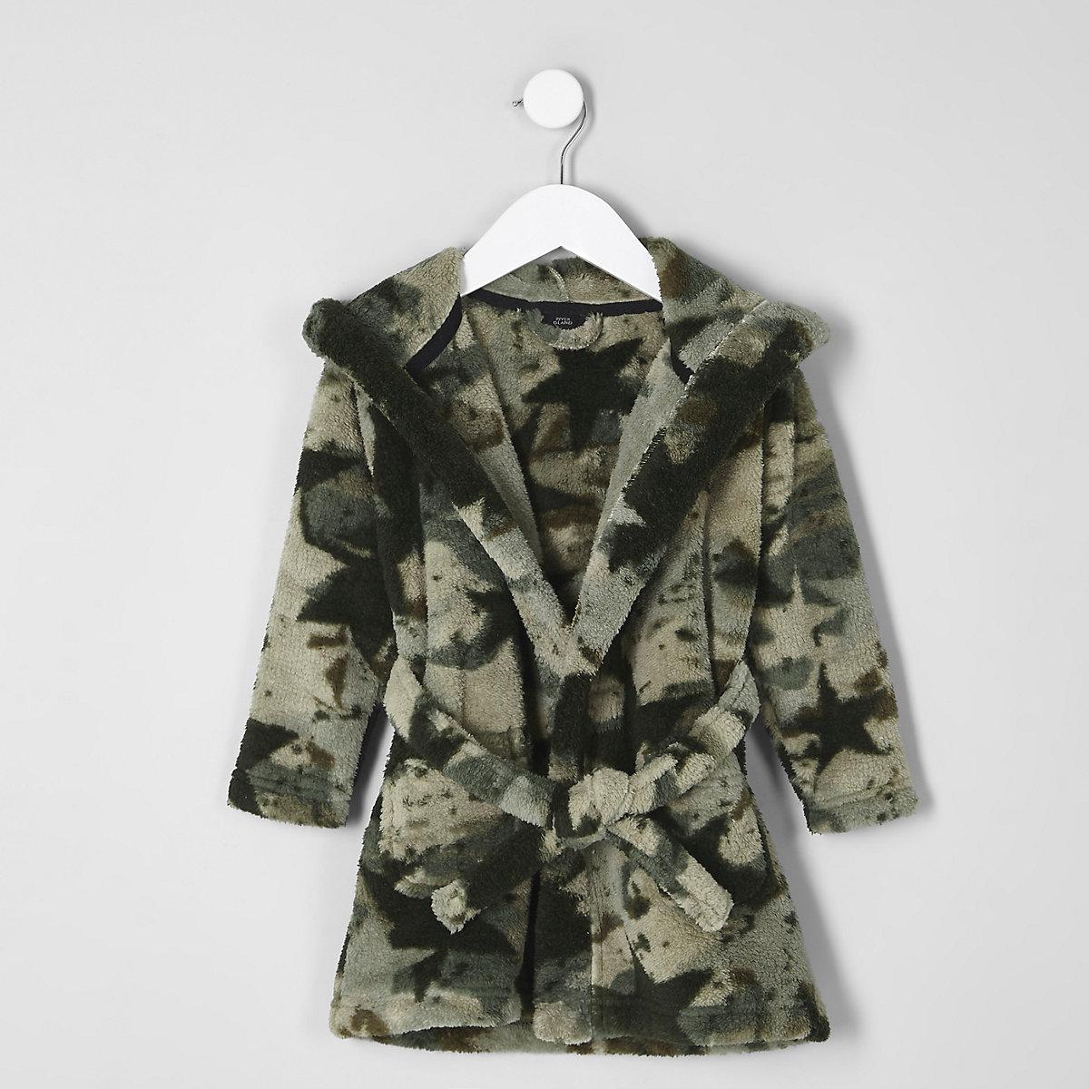 Mini boys khaki camo dressing gown