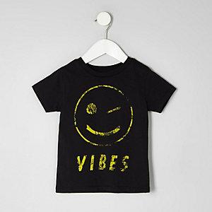 Mini - Zwart T-shirt met smiley voor jongens