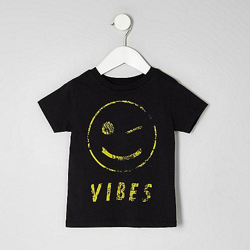 Mini boys black smiley face T-shirt