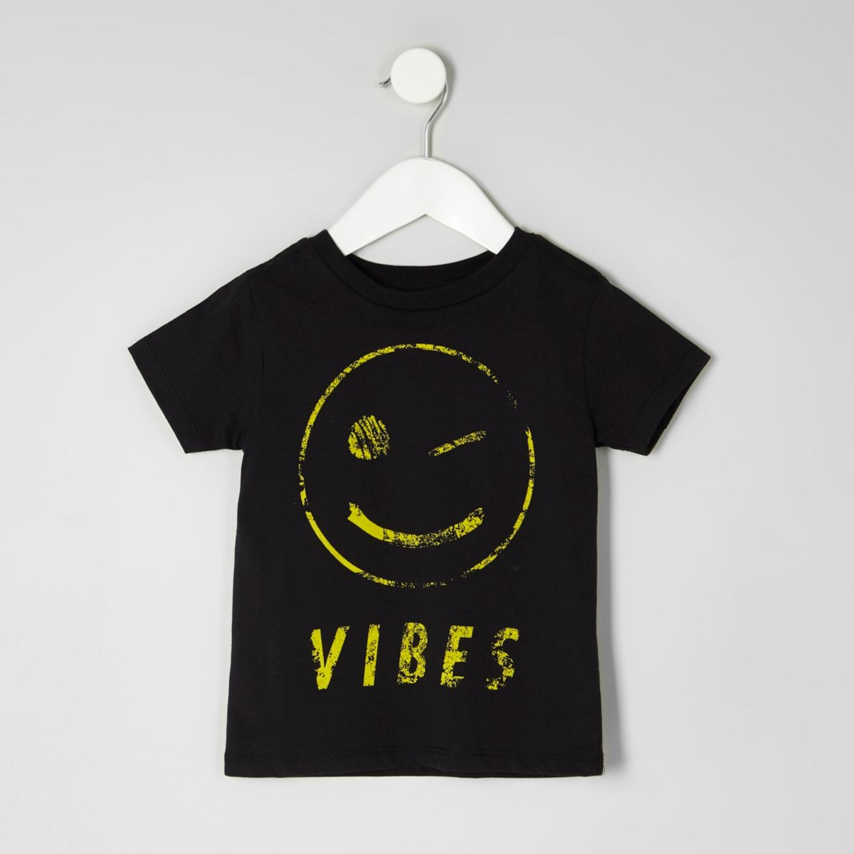 mini boys black smiley face t shirt baby boys tops. Black Bedroom Furniture Sets. Home Design Ideas